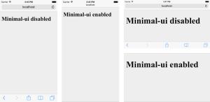 "Navigation bar che scompare come in Safari da iOS8 in poi<p><!-- Google Ads Injected by Adsense-Extreme--><div class=""adsxtrm"" id=""adsxtrm1"" style=""padding:7px; float: right; padding-right: 0; margin: 0px;""><!-- AdSense Extreme num: 1 --><script type=""text/javascript""><!--              google_ad_client = ""pub-9382634443688186""; google_alternate_color = ""FFFFFF"";     google_ad_width = 468; google_ad_height = 60;     google_ad_format = ""468x60_as""; google_ad_type = ""text_image"";     google_ad_channel =""""; google_color_border = ""FFFFFF"";     google_color_link = ""0000FF""; google_color_bg = ""FFFFFF"";     google_color_text = ""000000""; google_color_url = ""008000"";     google_ui_features = ""rc:0""; //--></script>     <script type=""text/javascript"" src=""http://pagead2.googlesyndication.com/pagead/show_ads.js""></script></div></p><p><!-- Google Ads Injected by Adsense-Extreme--><div class=""adsxtrm"" id=""adsxtrm2"" style=""padding:7px; float: right; padding-right: 0; margin: 0px;""><!-- AdSense Extreme num: 2 --><script type=""text/javascript""><!--              google_ad_client = ""pub-9382634443688186""; google_alternate_color = ""FFFFFF"";     google_ad_width = 468; google_ad_height = 60;     google_ad_format = ""468x60_as""; google_ad_type = ""text_image"";     google_ad_channel =""""; google_color_border = ""FFFFFF"";     google_color_link = ""0000FF""; google_color_bg = ""FFFFFF"";     google_color_text = ""000000""; google_color_url = ""008000"";     google_ui_features = ""rc:0""; //--></script>     <script type=""text/javascript"" src=""http://pagead2.googlesyndication.com/pagead/show_ads.js""></script></div></p>"